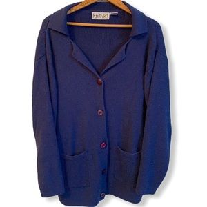 Knit navy blue cardigan w funky buttons size Large